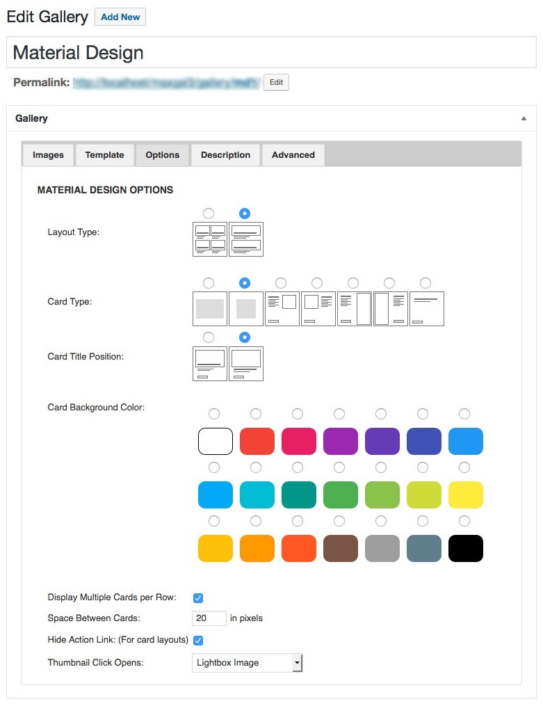material design options panel