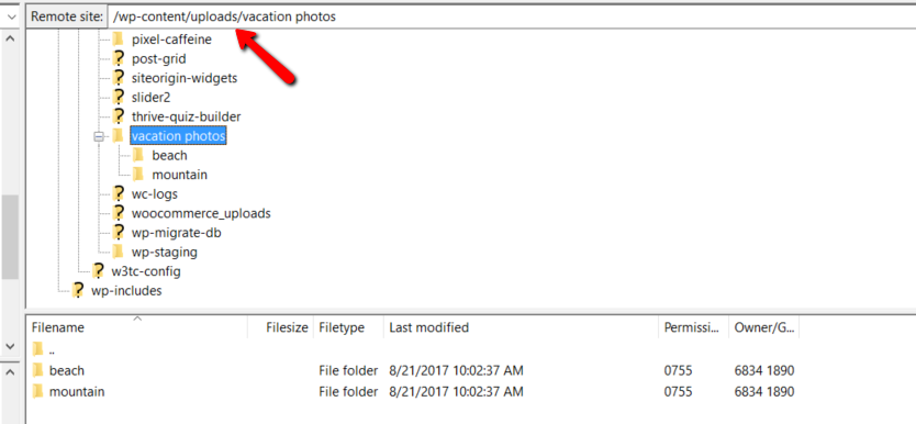 example of ftp folders