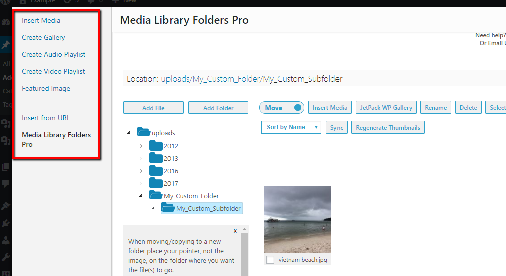 viewing folders in add media interface