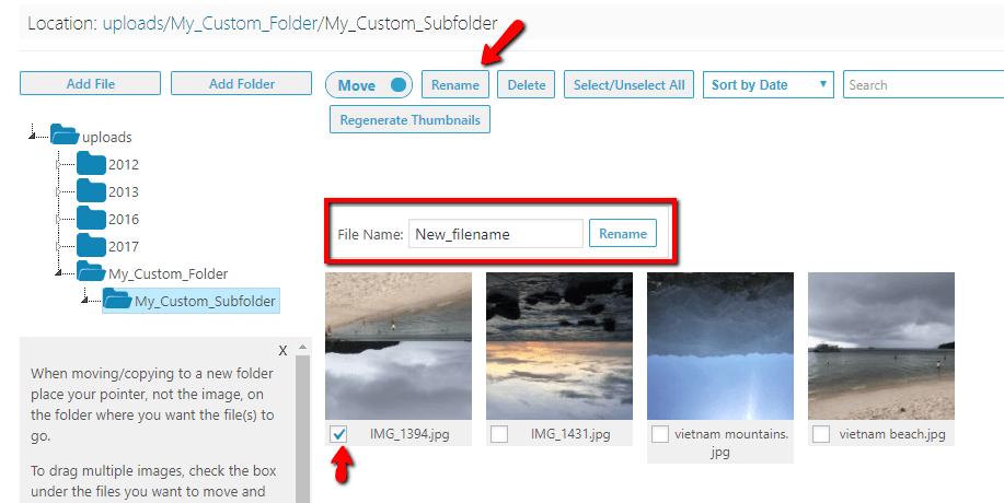 renaming a file in wordpress media library