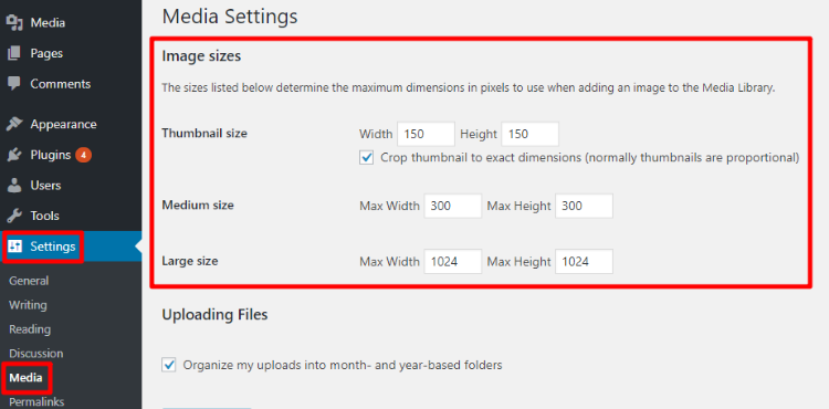 change default wordpress image sizes