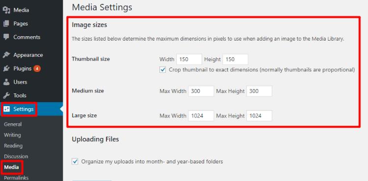 change default wordpress image sizes