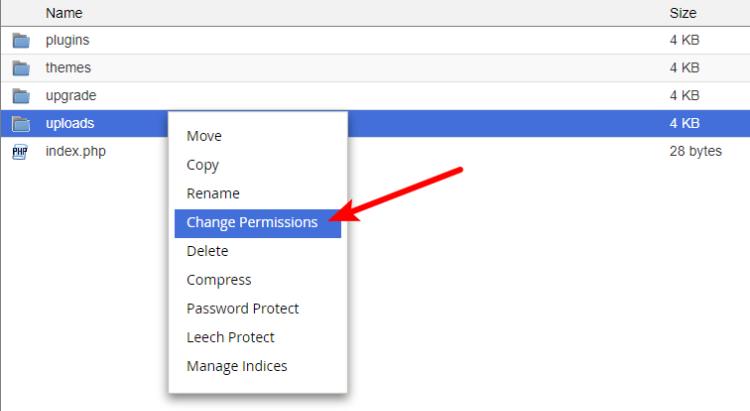 change uploads file permissions