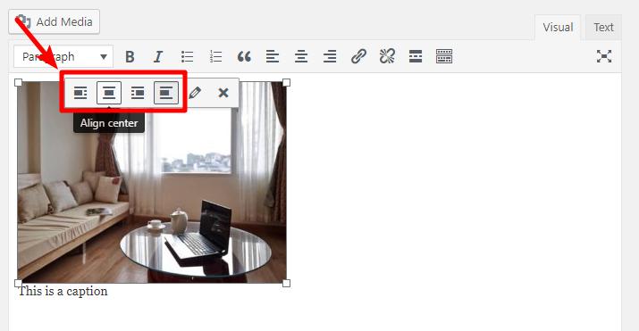 change wordpress image alignment
