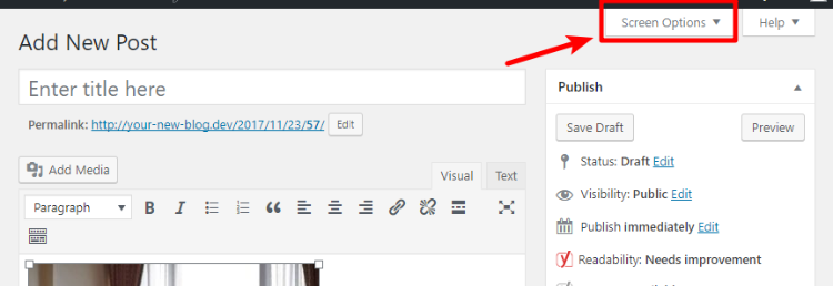 wordpress featured image box disappeared