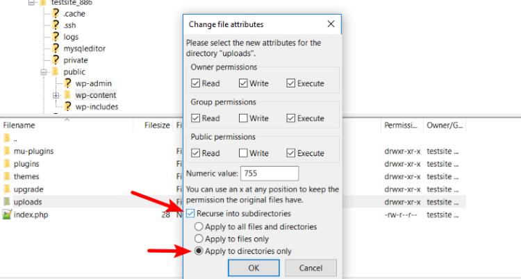 file permissions in filezilla