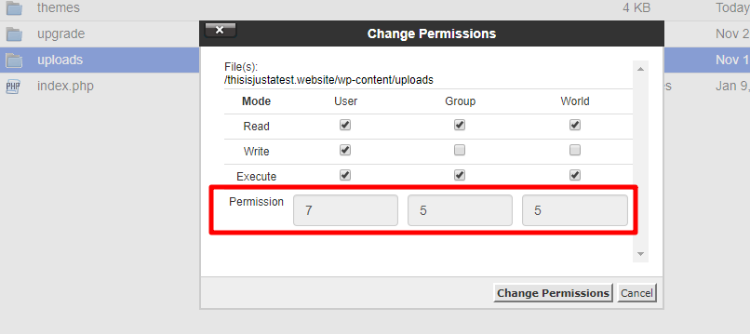 wordpress uploads folder file permissions