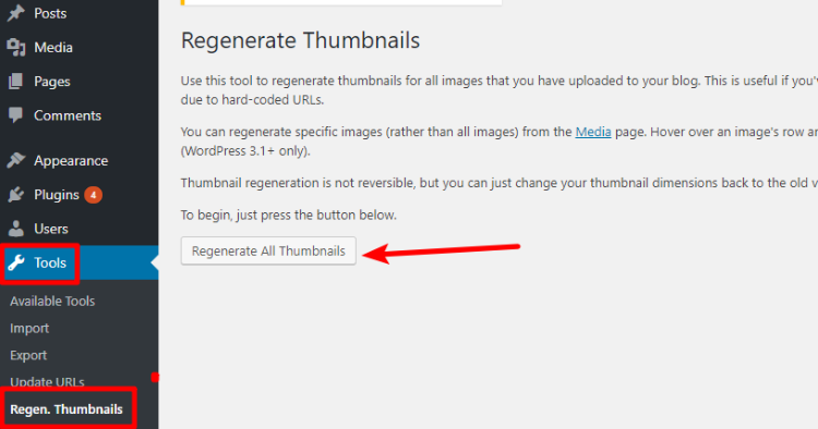 wordpress regenerate thumbnails