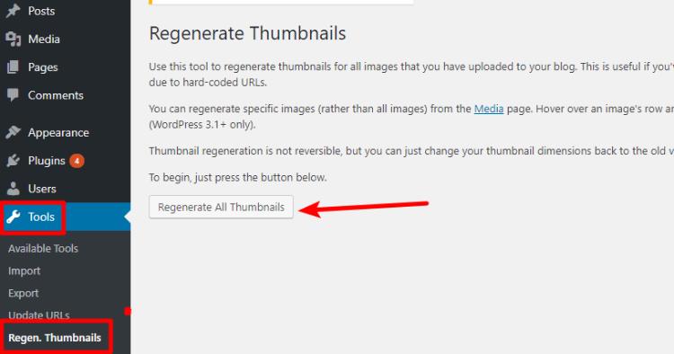 wordpress regenerate thumbnails