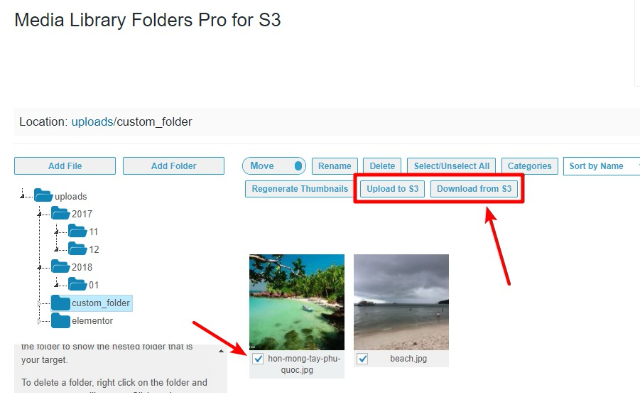 using media library folders pro s3 addon