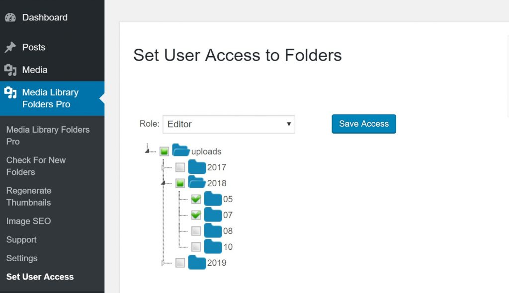 Restrict user access to folders