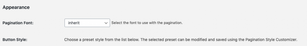 WP-Paginate Appearance Section