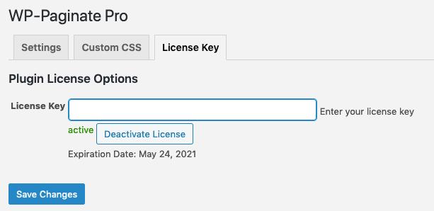 WP Paginate Pro License tab